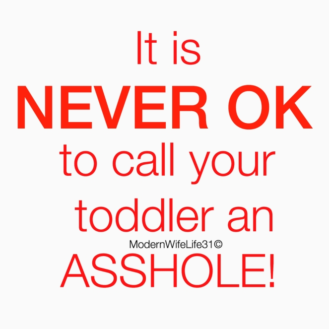 it is never ok to call your toddler an asshole